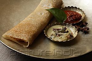 PictureIndia - dosai with two curries on silver plate