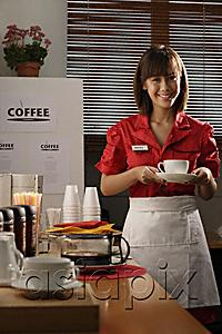 AsiaPix - Waitress in diner holding coffee