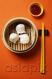 AsiaPix - still life of dim sum in bamboo steamer with chopsticks