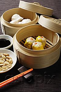 AsiaPix - still life of dim sum in bamboo steamers