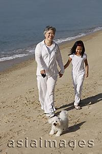 Asia Images Group - Older woman walking dog with young girl.