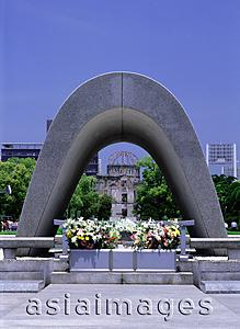 Asia Images Group - Japan, Hiroshima, Peace Memorial Park, Memorial Cenotaph in memory of victims of the atomic bomb