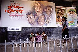 Asia Images Group - Myanmar (Burma), Yangon (Rangoon), Billboards in front of a cinema advertising an Indian film. Indian films in Hindi and American films in English are both popular in Yangon.