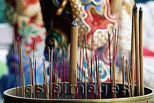 Asia Images Group - Singapore, Ang Mo Kio, Joss sticks in urn at Bright Hill Temple.
