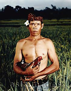 Asia Images Group - Indonesia, Bali, Ubud, Balinese rice farmer in rice field holding cock.