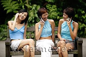 Asia Images Group - Three young women sitting side by side, using mobile phones