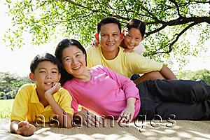 Asia Images Group - Family on picnic mat, looking at camera