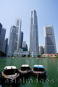 Asia Images Group - Singapore, Skyline and River, boats in the foreground