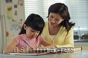 Asia Images Group - Mother helping her daughter with her homework