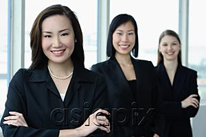 AsiaPix - Businesswomen in a row, smiling at camera