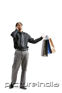 PictureIndia - Businessman talking on mobile phone, carrying shopping bags